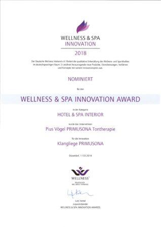 Auszeichnung: WELLNESS & SPA Innovation 2018